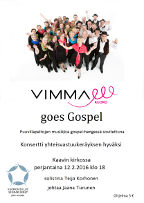 VIMMA goes Gospel Kaavi 2016 juliste A3