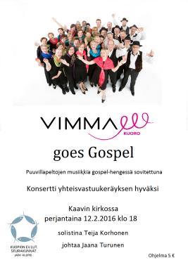 VIMMA goes Gospel Kaavi 2016 juliste A3